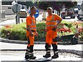 H4572 : Workmen, Swinging Bars, Omagh by Kenneth  Allen