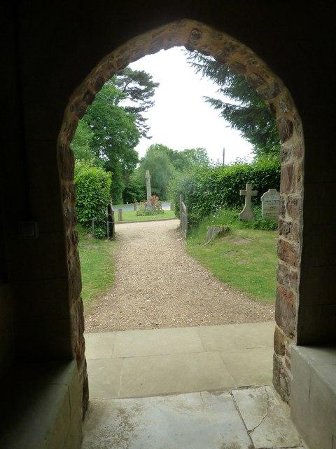 St James, Alderholt: looking out of the west door