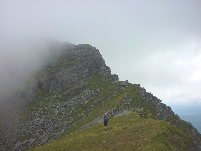 Approaching the 'Bad Step', north ridge of Ben Hope