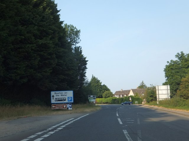 A429 Fosse Way passing Bourton-on-the-Water