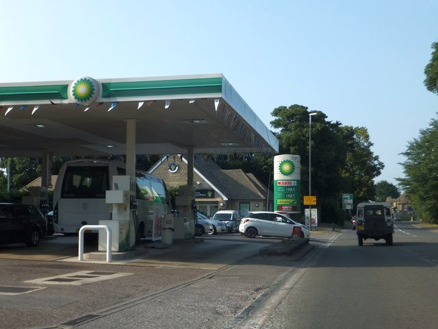 BP filling station on Fosse Way