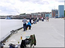 NZ3668 : Fishing on Western Quay, North Shields by Andrew Curtis