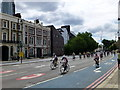 TQ2978 : RideLondon route in Grosvenor Road, Pimlico by PAUL FARMER