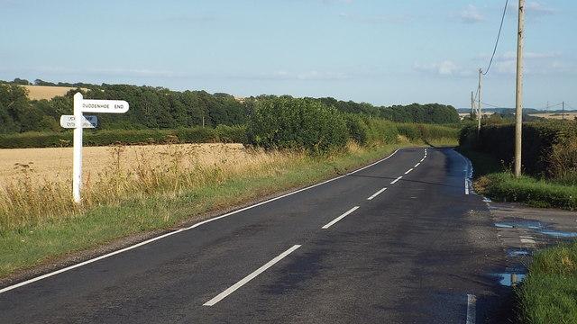 Road junction near Littlebury Green, Essex