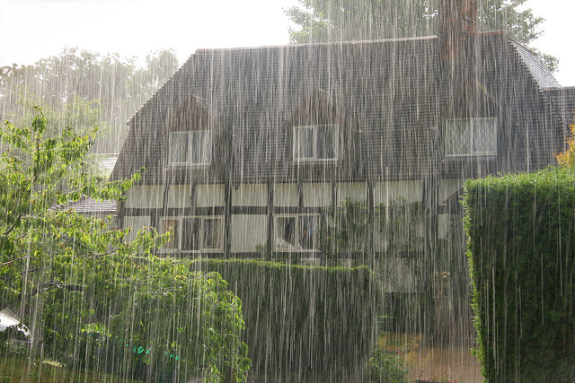 Mead Cottage in torrential rain