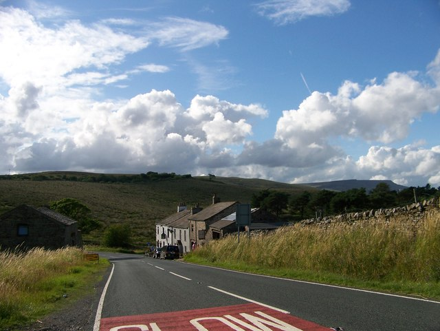 Approaching the Moorcock Inn on the A684