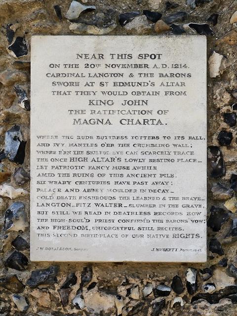 Magna Carta Tablet, Bury St Edmunds Abbey