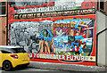 "J3574 : ""Past and Future"" mural, Ballymacarrett, Belfast by Albert Bridge"