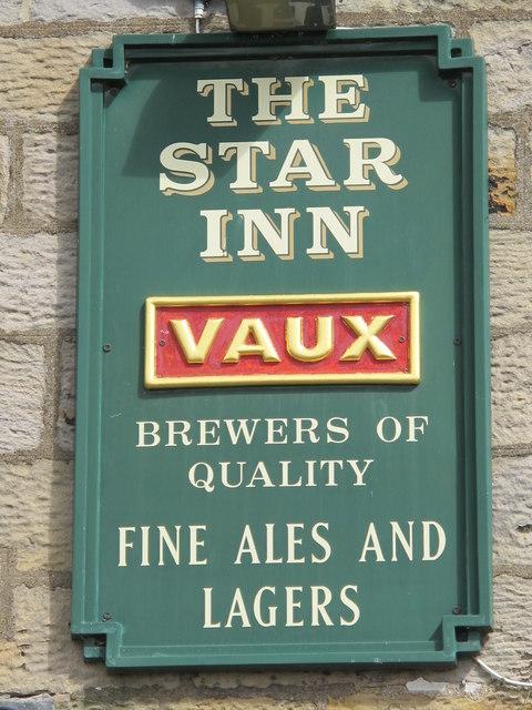 Sign on The Star Inn, Harbottle