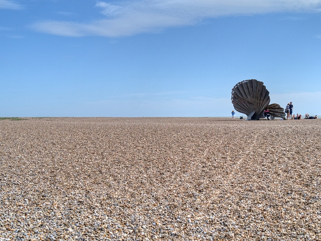 Aldeburgh Beach and Scallop Sculpture