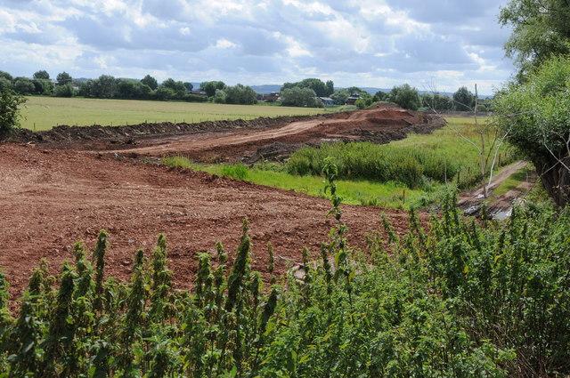 Remains of railway embankment over Avon floodplain
