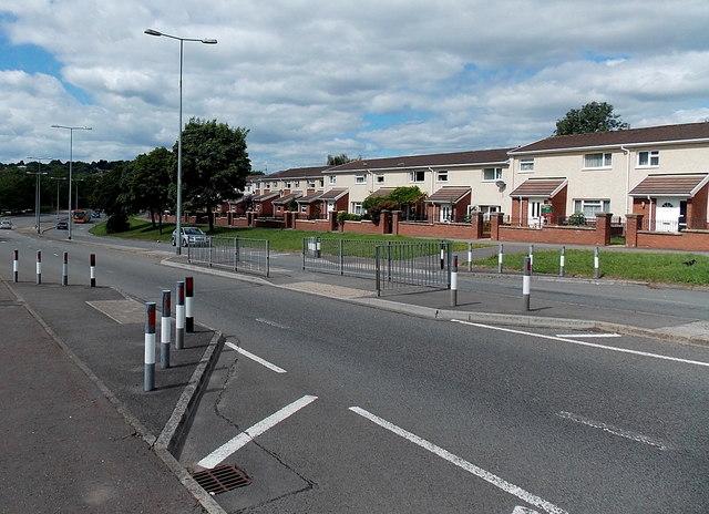 Traffic calming at a road crossing in Bryn Celyn Road, Pentwyn, Cardiff