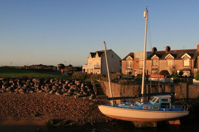 Boat and houses at Sea View, Haverigg