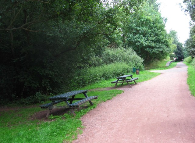 South Staffordshire Railway Walk - two picnic tables near former Wombourne Station, Wombourne, Staffs