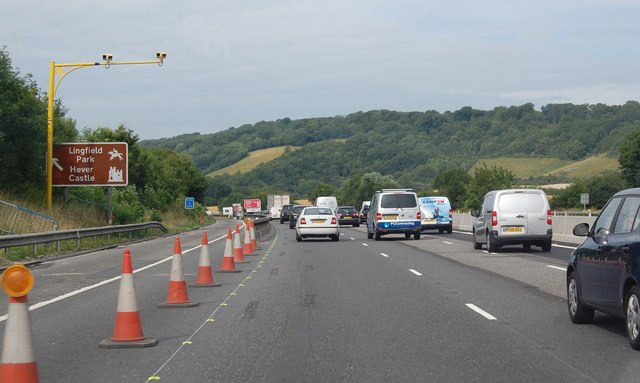 M25 with average speed cameras