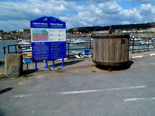 Wooden buoy with an aviation connection, Burry Port