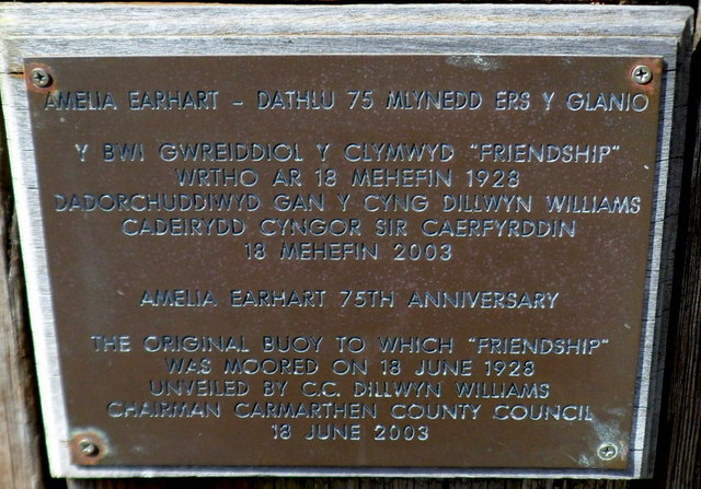 Plaque on a historic wooden buoy, Burry Port