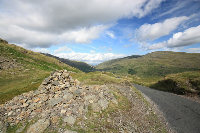 Man made pile at the highest road point on Hardknott Pass