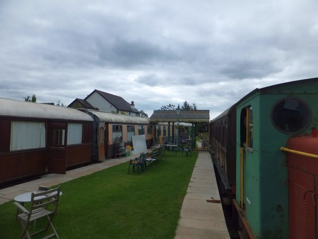 Preserved railway carriages at Bere Ferrers