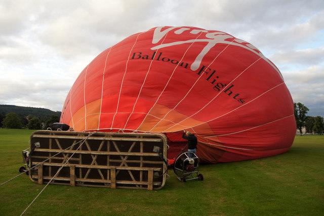 Inflating a hot air balloon at North Inch, Perth