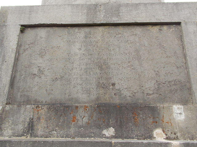 Llanfairpwllgwyngyll: Latin inscription on Marquess of Anglesey's Column