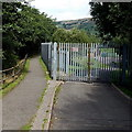 ST0195 : Entrance gates to Stanleytown football ground by Jaggery