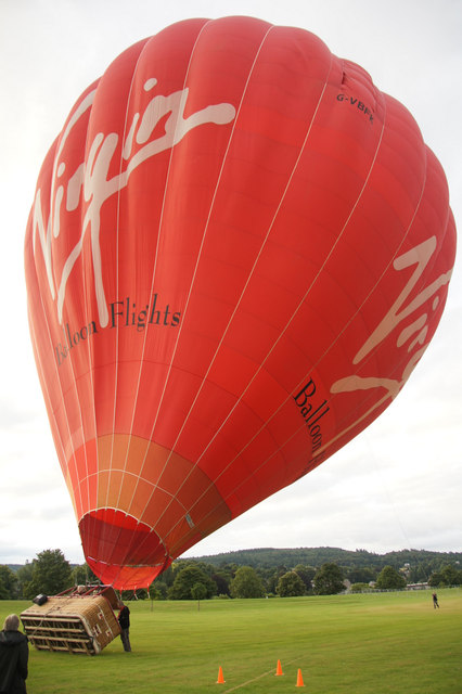 Inflating a hot air balloon at North Inch, Perth