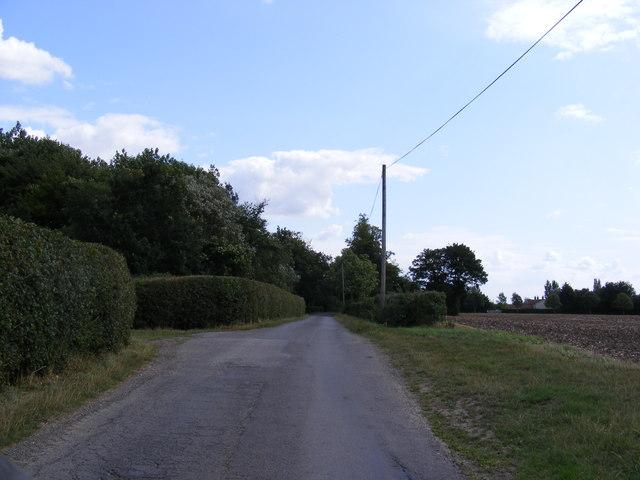 Laxfield Road & field entrance