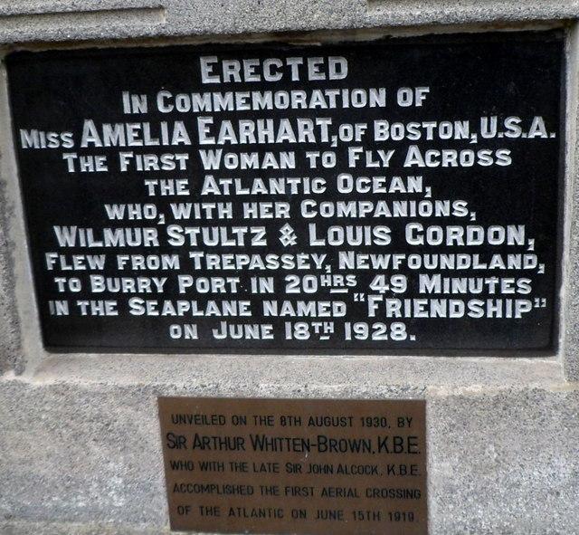 Amelia Earhart commemoration plaques, Burry Port