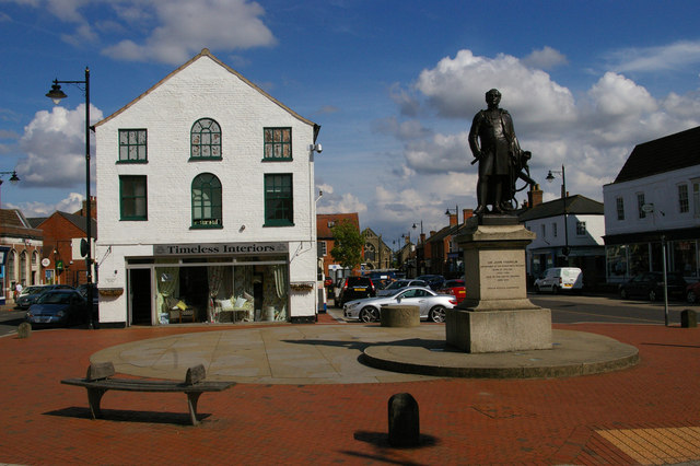 Spilsby: marketplace and memorial to Sir John Franklin