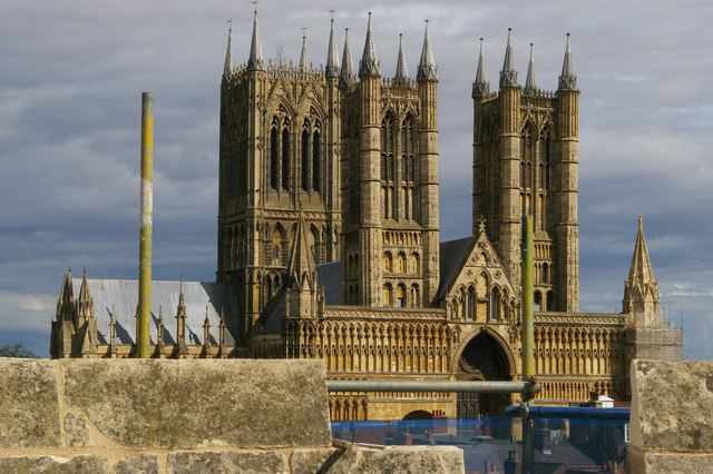 Lincoln Cathedral: west front from castle