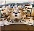 SJ8497 : Decorative head on London Road Fire Station by Gerald England