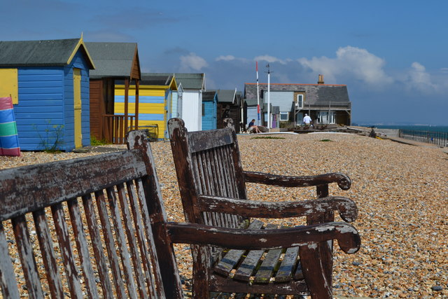Benches and beach huts