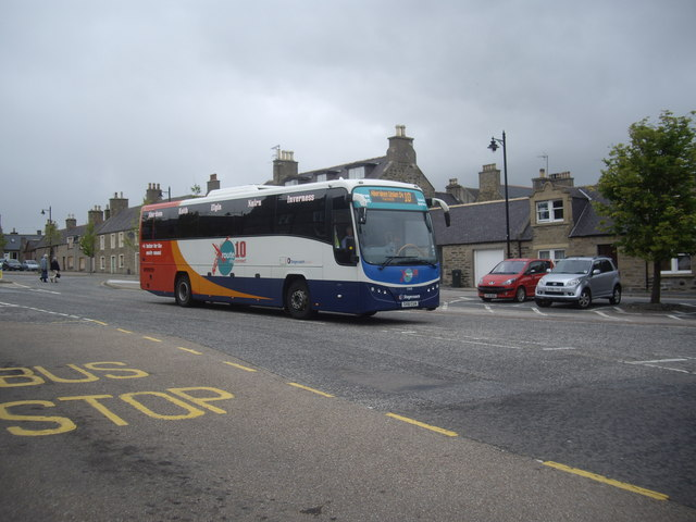 An Aberdeen to Inverness bus leaves Keith square
