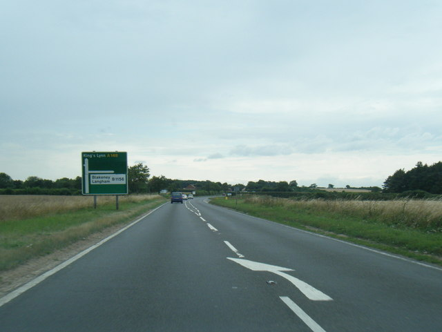 A148 westbound nearing the B1156 junction