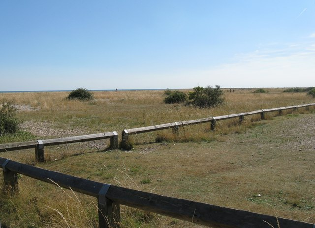 View south from the closed car park on Pagham beach