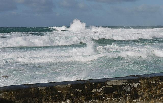 Stormy seas at Sennen Cove