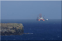 HP6611 : Drilling rig beyond the Nev at the mouth of Harold's Wick by Mike Pennington