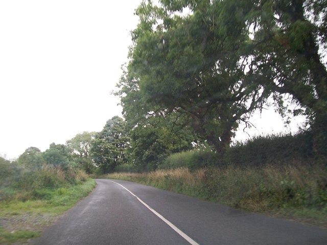 Approaching a bend on the road north of St Mary's Primary School