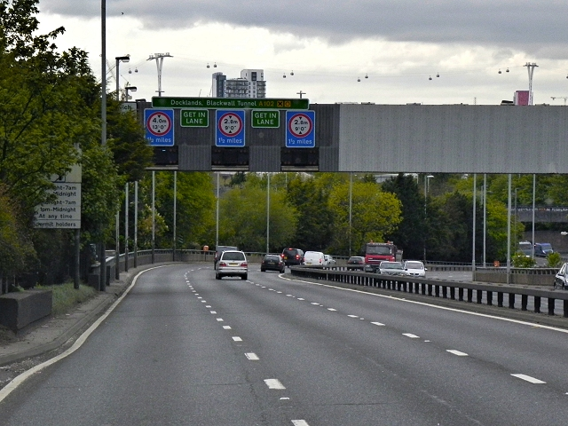 Overhead Sign Gantry over the A102 near Charlton