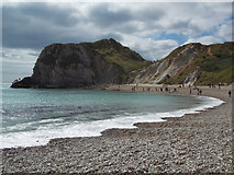 SY8080 : West Lulworth: the shoreline of Man o' War Cove by Chris Downer