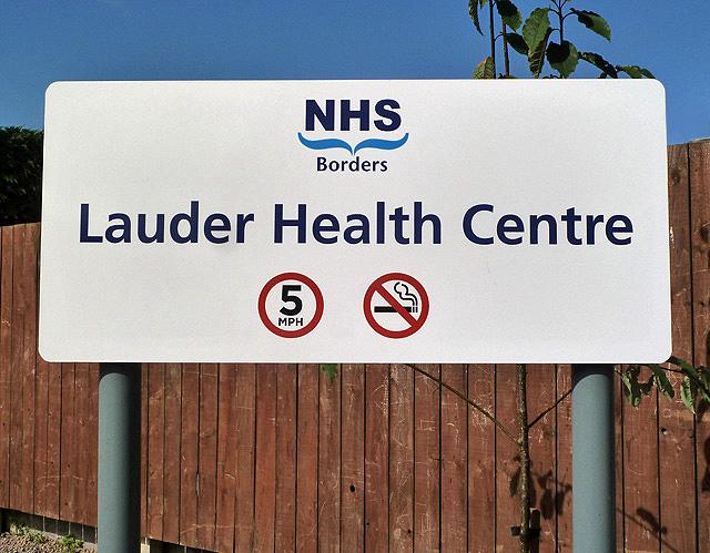 Lauder Health Centre sign at Crofts Road