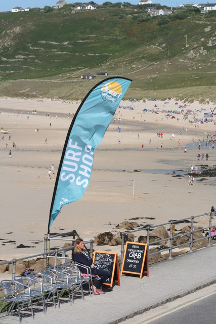 Surf Shop banner at Sennen Cove