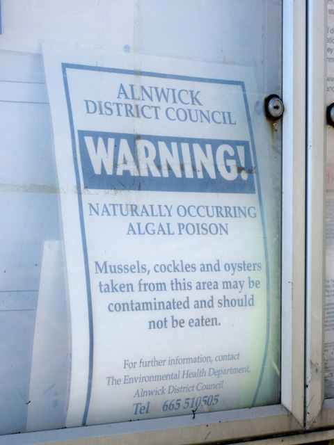 Shellfish warning sign, Low Newton-by-the-Sea