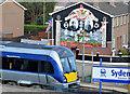 J3775 : Train and war memorial, Sydenham, Belfast by Albert Bridge