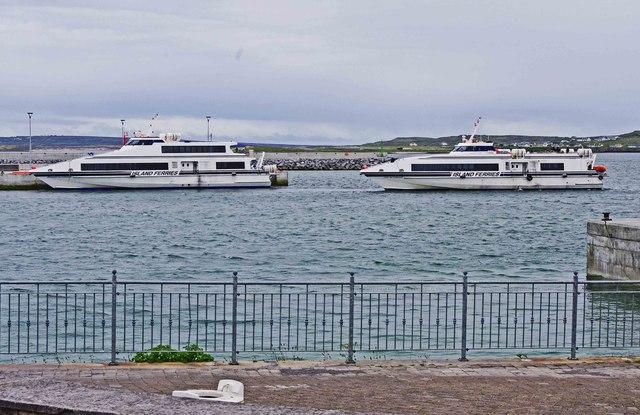 Two ferry boats at Cill Rónáin (Kilronan), Inishmór, Aran Islands, Co. Galway