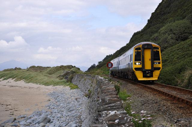 Train beneath Harlech Cliff