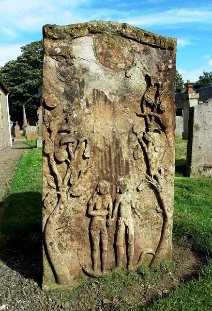 An Adam & Eve Headstone in St Quivox Churchyard
