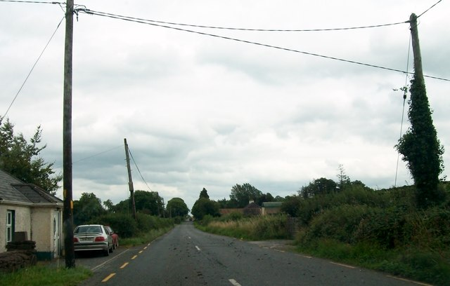 Power lines crossing the R357 (Hill Street) on the eastern outskirts of Cloghan