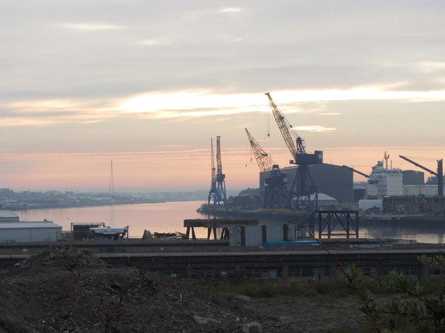 Morning view over Tyne-side shipyards